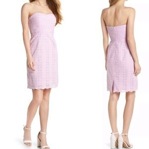 🆕 J. Crew Lavender Eyelet Sheath Dress Strapless